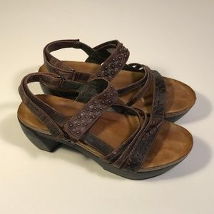 Naot Brown Leather Stud Wedge Sandals Women 8